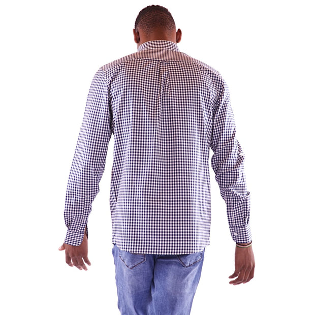 Men's Full Sleeve Dotted Blue Shirt - Hillmarten