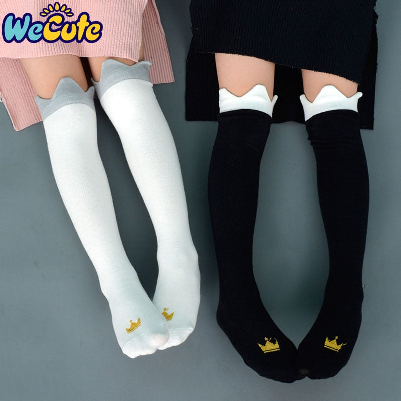 Wecute Baby Children Crown Print Knee High Socks Kids Cute Princess Fashion Cotton Long Socks Baby Girls Sprint Autumn Socks - Hillmarten