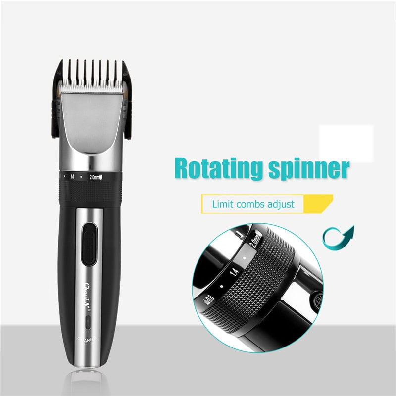 Professional Low Noise Rechargeable Haircut Machine Adjustable 0.8-2mm Electric Shave Titanium ceramic blade Hair Clipper P49 - Hillmarten