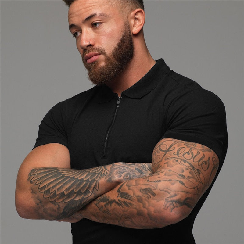 Muscleguys Man Fashion Polo Shirt Casual Fashion Plain Color Short Sleeve High Quality Slim Polo Shirt Men Fitness Polo homme - Hillmarten