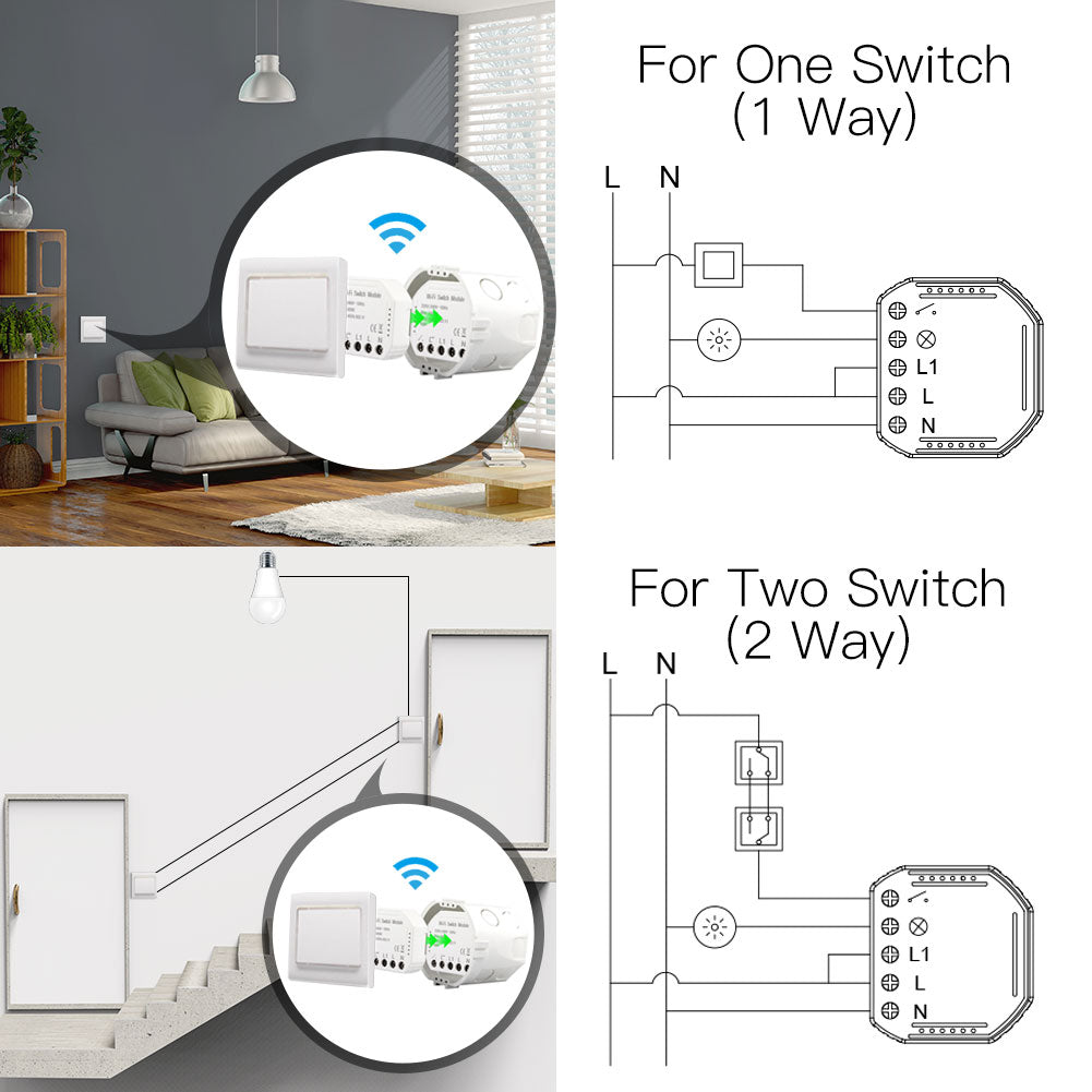Wifi Smart Light Switch Diy Breaker Automation Module Smart Life/Tuya APP Remote Control,Works with Alexa Google Home 1/2 Way - Hillmarten