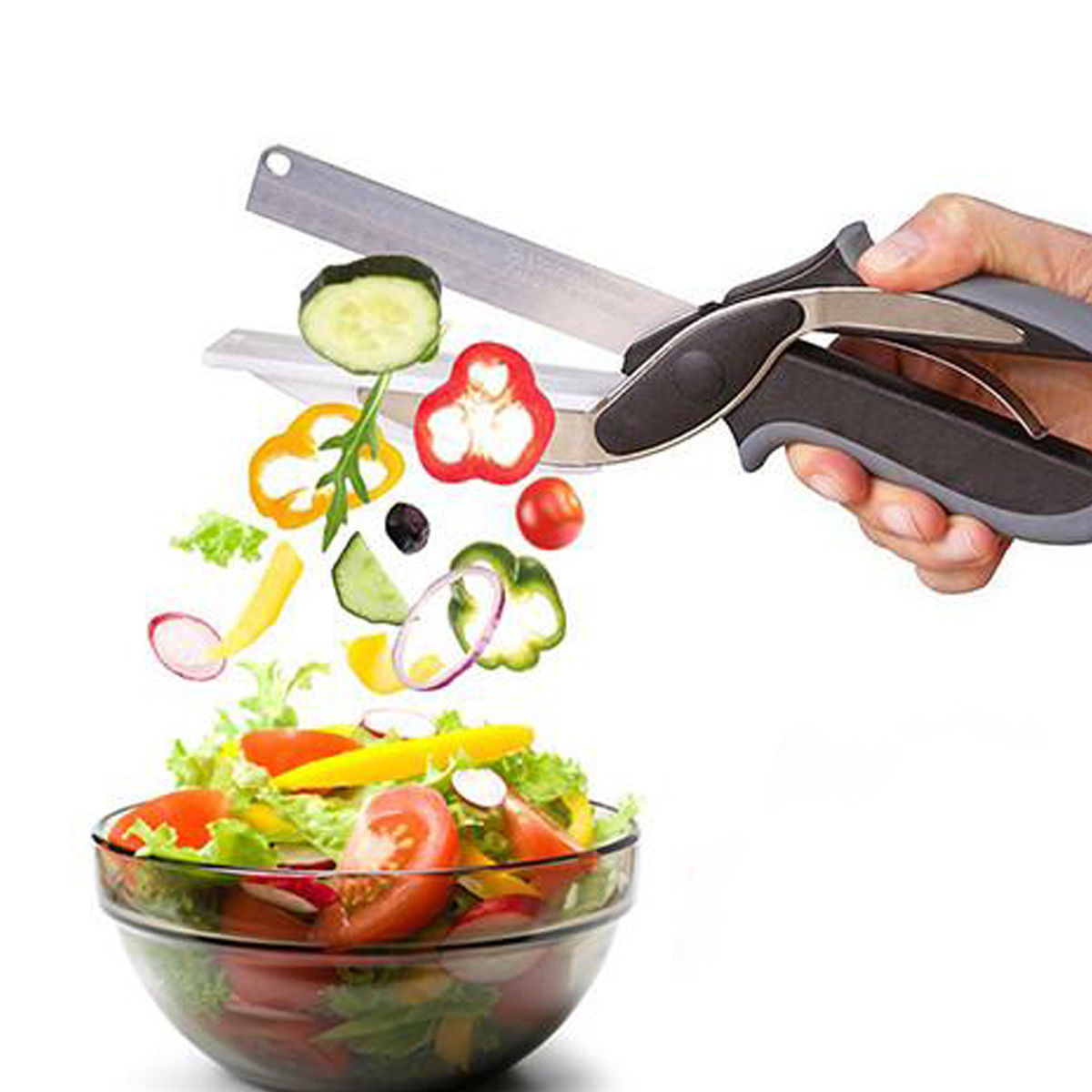Clever Cutter 2 In 1 Food Chopper Kitchen Scissors Smart Kitchen Shears Vegetable Slicer Dicer with Cutting Board - Hillmarten