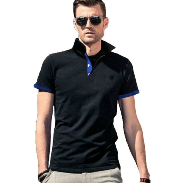 Mens Polo Shirt 2019 New Summer Short Sleeve Turn-over Collar Slim Tops Casual Breathable Solid Color Business Shirt - Hillmarten