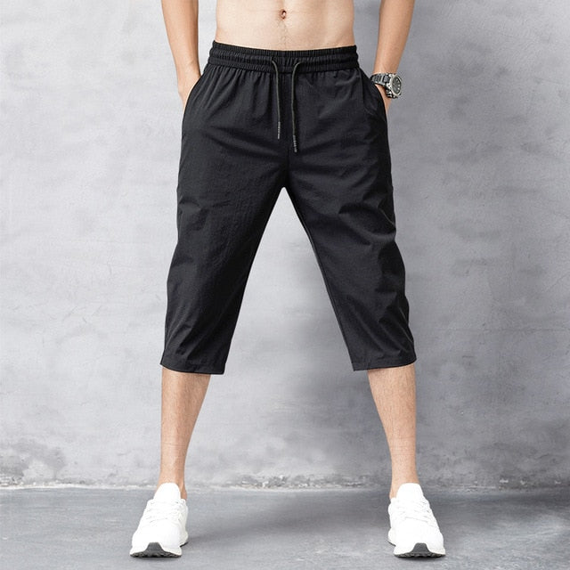 Men's Shorts Summer Breeches 2020 Thin Nylon 3/4 Length Trousers Male Bermuda Board Quick Drying Beach Black Men's Long Shorts - Hillmarten
