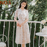 New Summer Women Floral Print Long Chiffon Dress - Hillmarten