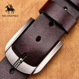NO.ONEPAUL Genuine Leather High Quality Black Buckle Jeans Belt - Hillmarten