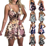 Women's Summer Print Jumpsuit Shorts Casual Loose Short Sleeve V-neck Beach Rompers Sleeveless Bodycon Sexy Party Playsuit - Hillmarten
