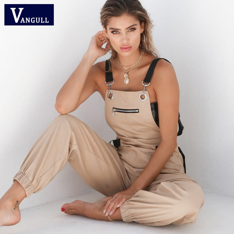 Vangull New Khaki Rompers Womens Jumpsuit Long Elegant Zipper Pockets Sleeveless Adjusted Strap High Waist Cotton Fashion Summer - Hillmarten