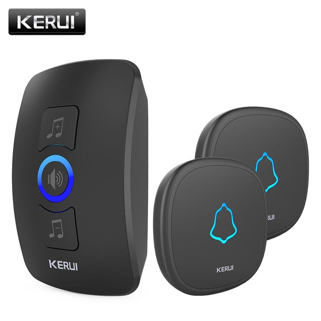 KERUI M525 Home Security Welcome Wireless Doorbell Smart Chimes Doorbell Alarm LED light 32 Songs with Waterproof Touch Button - Hillmarten