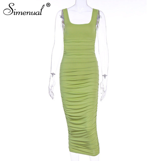 Simenual Ruched Solid Sexy Bodycon Party Dresses - Hillmarten