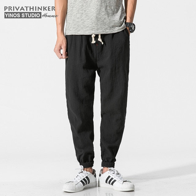 Privathinker Cotton Linen Casual Harem Pants Men Joggers Man Summer Trousers Male Chinese Style Baggy Pants 2020 Harajuku Clothe - Hillmarten