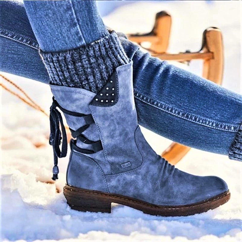 Women Boots winter autumn girls Flat Heel Boot Fas - Hillmarten