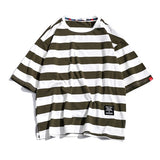 Black Fashion T Shirt Mens Cotton Tshirt Striped For Men Tee Summer Japanese Casual T-shirts Streetwear Fitness Tees Oversized - Hillmarten