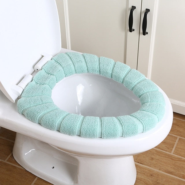 Hot Sale Comfortable Velvet Coral Bathroom Toilet Seat Cover Winter Toilet Cover Household Closestool Mat Seat Case Lid Cover - Hillmarten