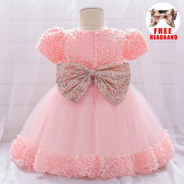 Summer Dress for Girl Baby Christening Gown First 1st Birthday Dress Party Girl Baby Clothing Toddler Clothes Infant Vestidos - Hillmarten