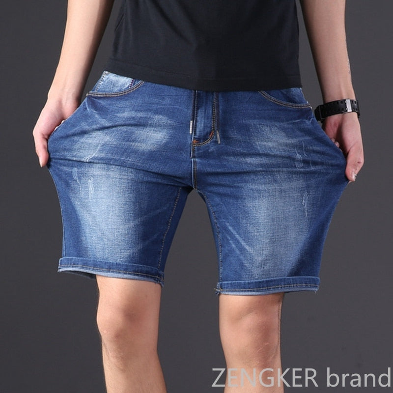 Extra large size men's denim shorts oversized men's elastic waist knee length summer loose shorts men plus size 9XL 8XL 7XL 6XL - Hillmarten