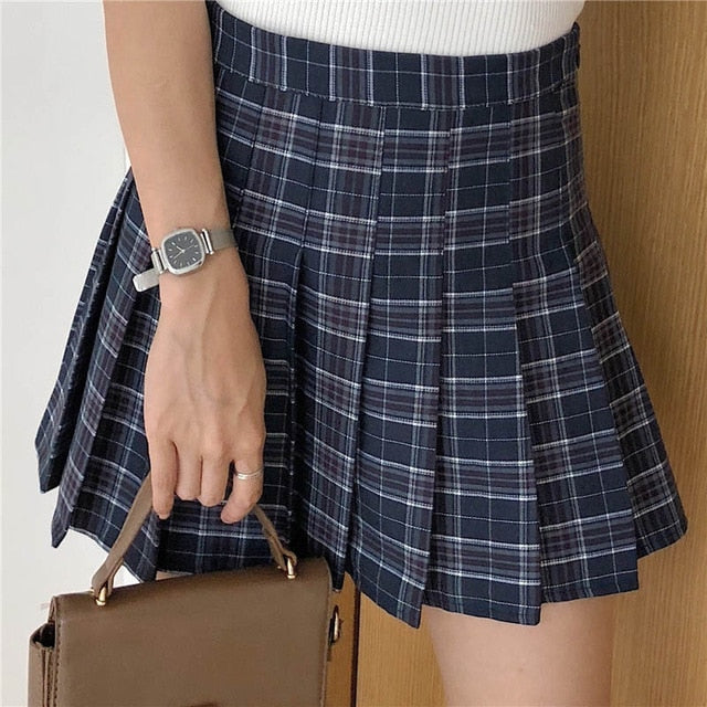 XS-2XL New summer women skirt high waist pleated plaid skirts female cute sweet girls dance mini skirt mujer - Hillmarten