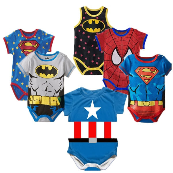 Superman Summer Baby Rompers Newborn Baby Boy Girl Romper Short sleeve Jumpsuit Clothes Baby Clothes Cotton Outfits 0-18M - Hillmarten