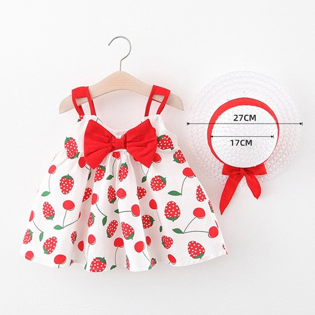 Melario Baby Girls Dresses With Hat 2pcs Clothes Sets Kids Clothes Baby Sleeveless Birthday Party Princess Dress Print Floral - Hillmarten