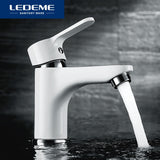 LEDEME Innovative Fashion Style Basin Faucet Home Bath Cold And Hot Water Taps  White Bathroom Mixer Single Handle Basin Faucet - Hillmarten