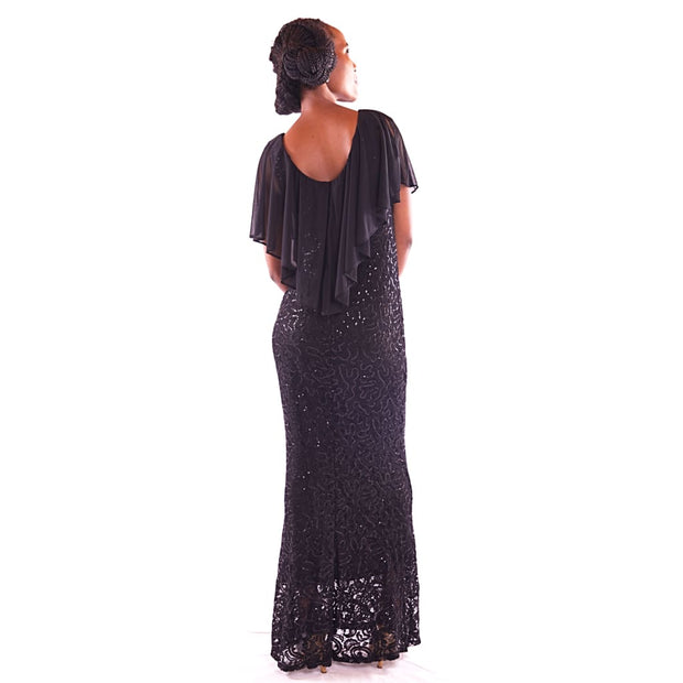 Womens Maxi Black Party Dress