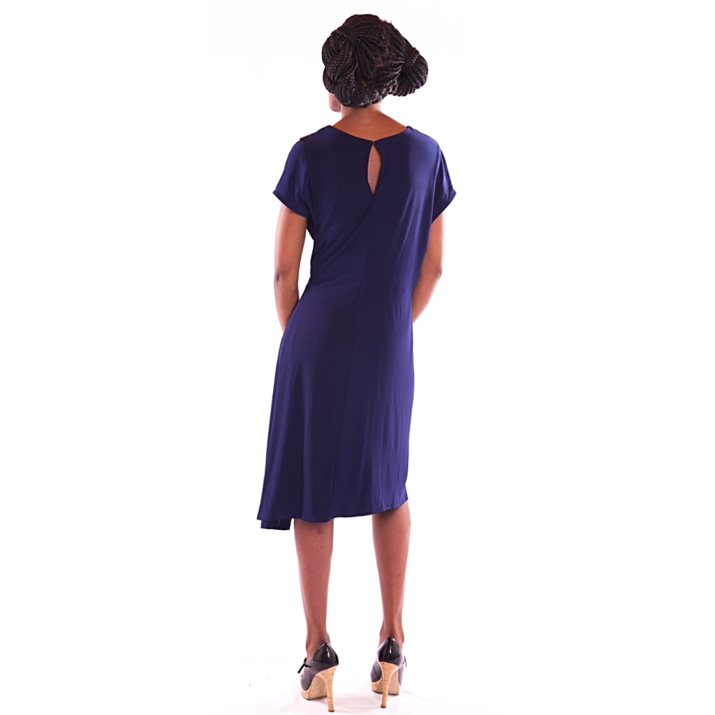 Women's Midi Navy Blue Dress - Hillmarten