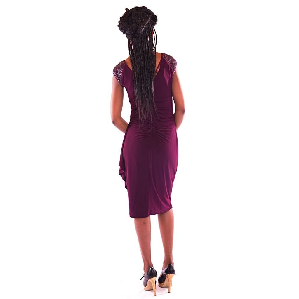 Women's Midi Wine Colour Dress - Hillmarten