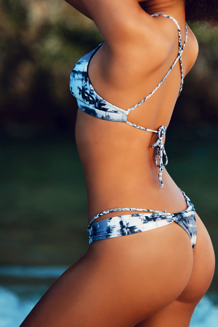 Merri Ella Bikini Separates - Black & White Palmtrees