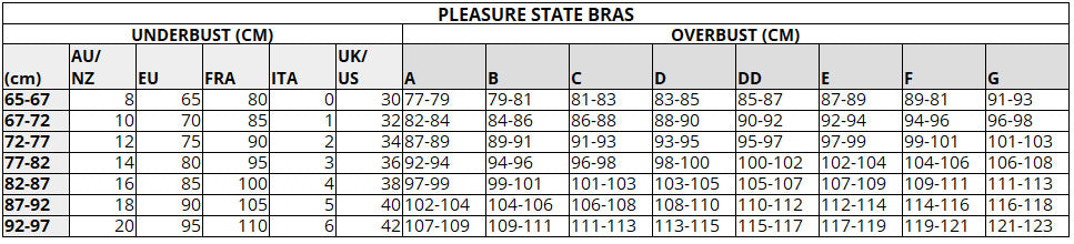 PLEASURE STATE SIZE CHART