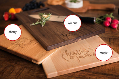 Personalized Engraved Wood Charcuterie Board with Names & Twined Hearts