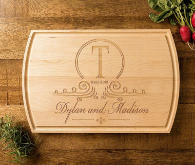 Personalized Cutting Board, Monogrammed Engraved Wood Wedding Gift by Well Written Gifts