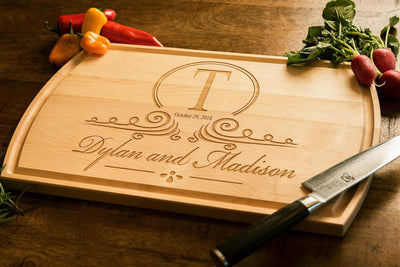 Personalized Cutting Board, Monogrammed Engraved Wood Engagement Gift by Well Written Gifts