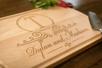 Cutting Board Personalized, Monogrammed Engraved Wood Wedding Gift by Well Written Gifts