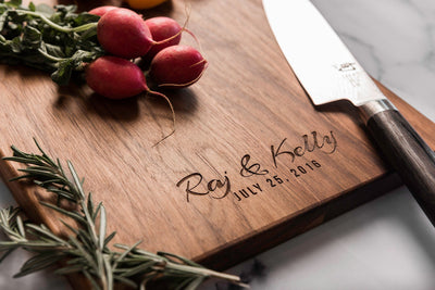 Personalized Charcuterie Board, Custom Cutting Board with First Names & Date by Well Written Gifts