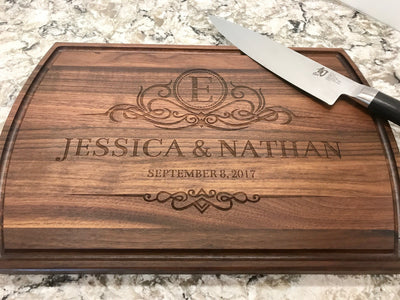Custom Cutting Board Personalized Cutting Board | Monogrammed Wedding Gift by Well Written Gifts