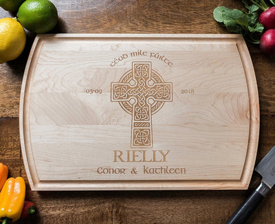 Celtic Cross Personalized Cutting Board, Irish Wedding Gift, Anniversary Gift by Well Written Gifts