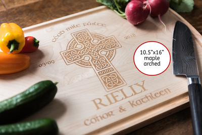 Personalized Celtic Cross Cutting Board * Custom Engraved Irish Wedding Gift