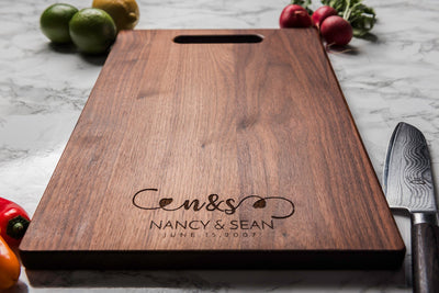 Personalized Charcuterie Board with Names, Date and Hearts - by Well Written Gifts