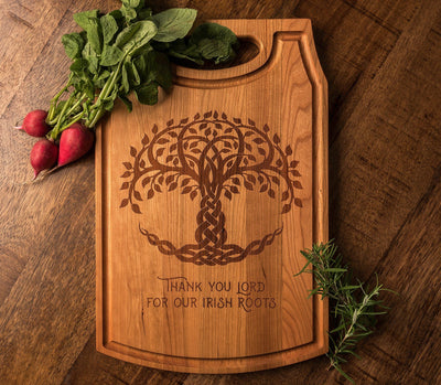 Irish Wedding Gift | Celtic Tree of Life | Personalized Cutting Board by Well Written Gifts