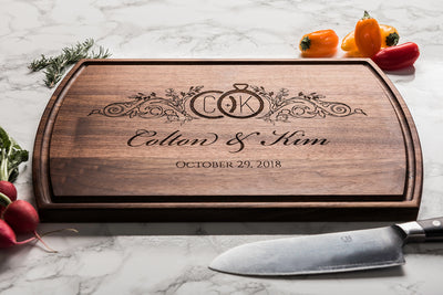 Wood Cutting Board * Personalized * Monogrammed Wedding Gift * Engraved Wedding Rings Logo