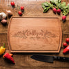 Personalized Cutting Board with Family Name Framed in Flowers * Custom Engraved Premium Wood Cutting Board