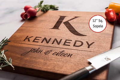Personalized Cutting Board | Monogrammed Wedding Gift | Modern Gift - KNDY