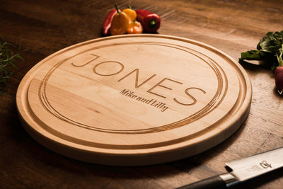 Modern Personalized Engraved Wood Cutting Board by Well Written Gifts
