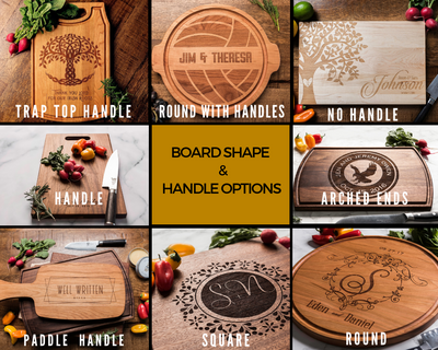 Wood Cutting Board Personalized with Names, Location and Date - MLLY