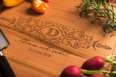 Monogrammed Cutting Board, Personalized Chopping Board, 5th Anniversary gift by Well Written Gifts