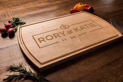 Personalized engraved wood cutting board wedding gift, modern, wedding rings logo Well Written Gifts