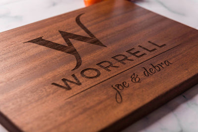 Personalized Custom Cutting Board with Monogram, Family Name and First Names by Well Written Gifts