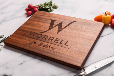Monogrammed Custom Cutting Board with Family Name and First Names by Well Written Gifts