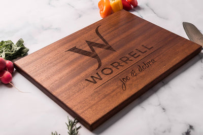 Custom Cutting Board with Family Name,  First Names and Monogram by Well Written Gifts