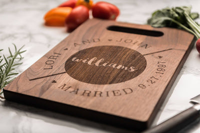 Personalized Cheese Board, Modern Custom Charcuterie Board, Wood Cutting Board by Well Written Gifts